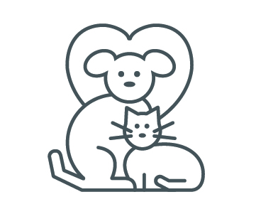 Icon of a dog and cat, with a heart in the background.