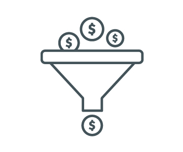 Icon of money going through a funnel.