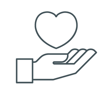 Icon of a hand holding up a heart.