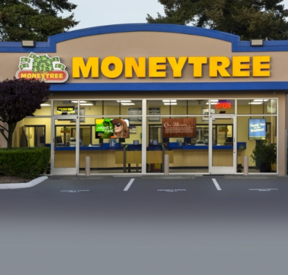 First Moneytree store at the present date, with a bubble of the same building when it first opened.