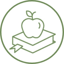Icon of an apple on a book.