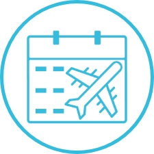 Icon of calendar with a plane flying.
