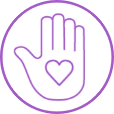 Icon of hand up with a heart on it.