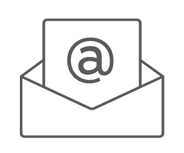 Icon with a paper with an at symbol on it coming out of an envelope