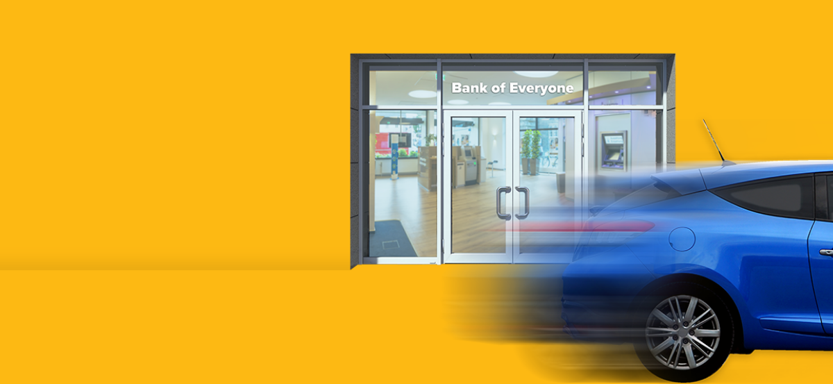 Blue car zooming past a bank, on a yellow background.